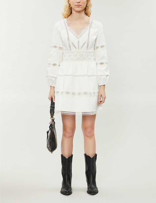The Kooples Lace-insert cotton-stretch jersey mini dress