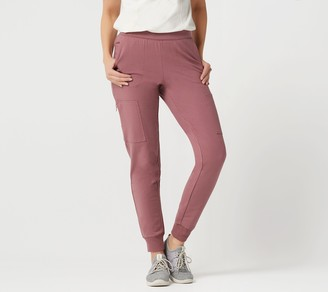 Denim & Co. Active French Terry Slim Leg Cargo Pant with Zipper Pocket