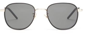 Saint Laurent Enamelled-rim Round Metal Sunglasses - Grey Gold
