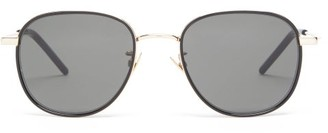 Saint Laurent Enamelled-rim Round Metal Sunglasses - Womens - Grey Gold