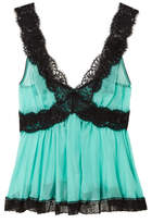 Dolce & Gabbana Lace-trimmed Silk-blend Chiffon Camisole - Turquoise
