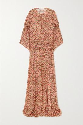Eywasouls Malibu Claire Smocked Floral-print Chiffon Maxi Dress - Baby pink