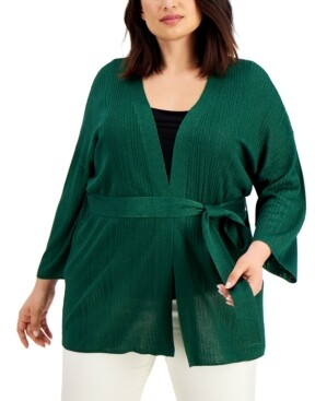 Thumbnail for your product : Alfani Plus Size Tie-Waist Cardigan, Created for Macy's