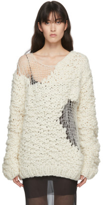 Ann Demeulemeester White Hand-Knit Wool Ielena Sweater