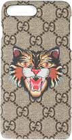 Gucci angry cat GG Supreme iPhone 7 Plus case - men - Leather - One Size