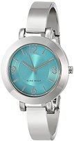 Nine West Women's NW/1631TLSB Teal Sunray Dial Silver-Tone Bangle Watch