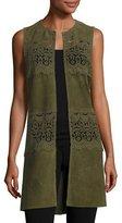 Neiman Marcus Long Suede & Lace Topper Vest, Olive