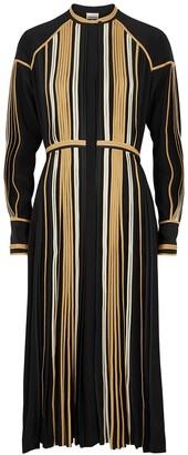 BODICE Black pleated silk midi dress