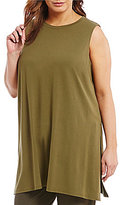 Eileen Fisher Plus Round Neck Sleeveless Tunic