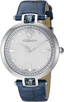 Versace Women's 'Crystal Gleam' Swiss Quartz Stainless Steel and Leather Casual Watch, Color:Blue (Model: VAN020016)