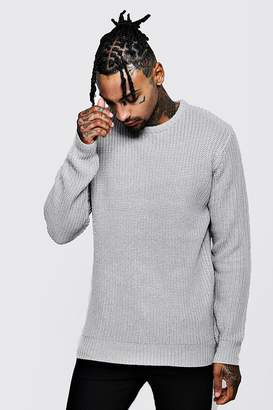 boohoo Crew Neck Fisherman Knit Sweater
