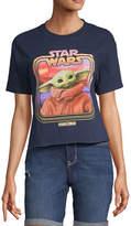 Star Wars Juniors Baby Yoda Womens Crew Neck Short Sleeve Graphic T-Shirt