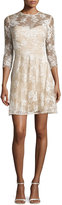 Monique Lhuillier Lace Illusion-Neck 3/4-Sleeve Dress, Nude
