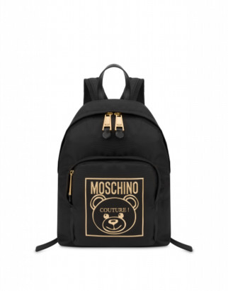 Moschino Gold Teddy Label Medium Backpack Woman Black Size U It - (one Size Us)