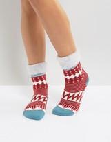 Free People Brushed Patterned Slipper Socks
