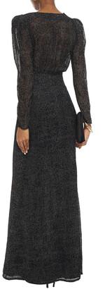 BA&SH Wrap-effect Flocked Polka-dot Silk-blend Voile Maxi Dress