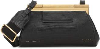 Victoria Beckham Frame lizard-effect leather clutch