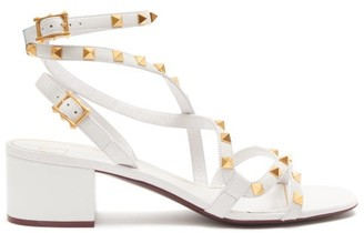 Valentino Flair Rockstud Leather Sandals - Womens - White