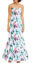 Glamour by Terani Couture Strapless Sweetheart Neck Floral Trumpet Dress