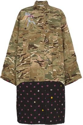 Natasha Zinko Camouflage And Contrast Print Hem Jacket