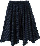 Julien David striped frayed skirt - women - Cotton/Nylon/Silk - M