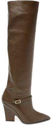 Aquazzura Venice 95 Point-toe Leather Knee Boots - Khaki