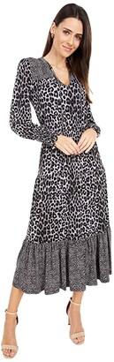 MICHAEL Michael Kors 2 Print Ellip Dress (Gunmetal) Women's Clothing