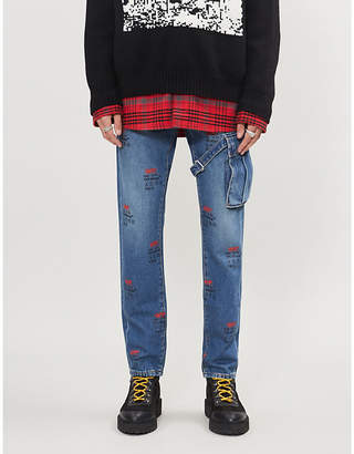 Off-White Logo-print patch-pocket tapered jeans