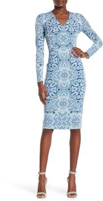 Maggy London Printed Sheath Midi Dress