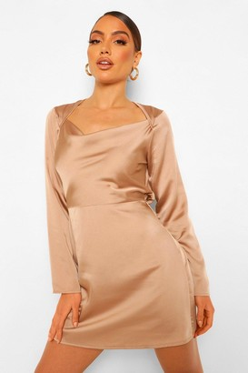 boohoo Square Cowl Neck Satin Slip Dress