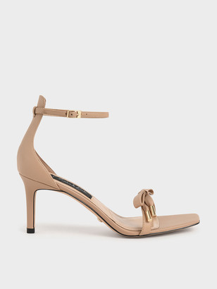 Charles & Keith Leather & Kid Suede Bow Sandals