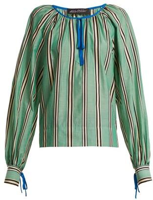 Anna October - Stripe Printed Round Neck Cotton Blouse - Green