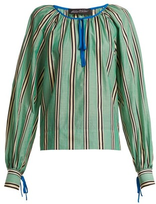 Anna October - Stripe Printed Round Neck Cotton Blouse - Womens - Green