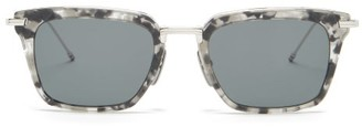 Thom Browne Tortoiseshell-effect Acetate D-frame Sunglasses - Grey