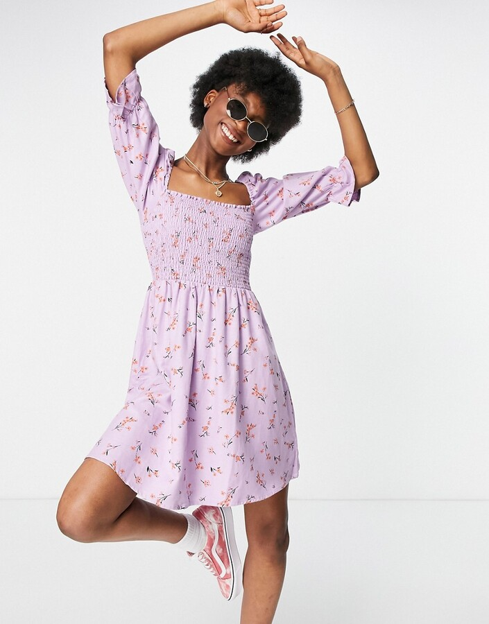 Thumbnail for your product : New Look shirred mini dress in lilac floral
