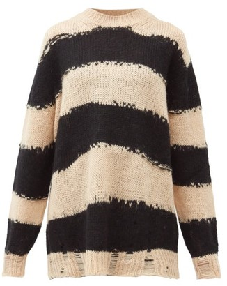 Acne Studios Kantonia Striped Distressed Knitted Sweater - Beige Multi