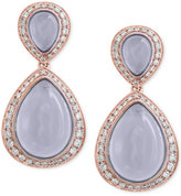 Effy Chalcedony (11-9/10 ct. t.w.) and Diamond (3/5 ct. t.w.) Drop Earrings in 14k Rose Gold