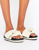 Sixty Seven SixtySeven White Bow Slide Flat Sandals