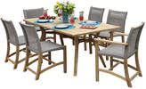 OUTDOOR INTERIORS Outdoor Interiors 7 piece Nautical Teak Dining setwith teak and wicker chairs