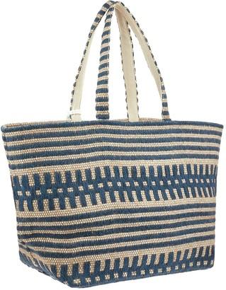 Accessorize Willow Woven Beach Tote Bag - Blue