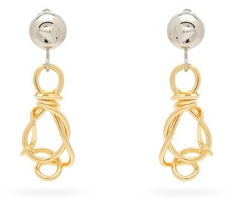 Marni Knotted-pendant Clip Earrings - Silver Gold