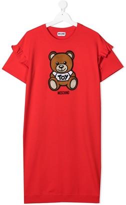 MOSCHINO BAMBINO TEEN teddy bear-print sweater dress