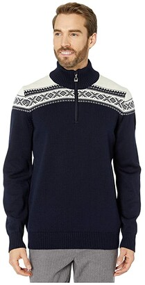 Dale of Norway Cortina Merino Masculine Sweater (Navy/Off-White) Men's Clothing