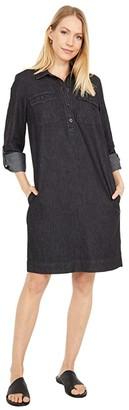 Lauren Ralph Lauren Cotton Shift Dress (Pitch Dark Wash) Women's Clothing