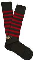 Gucci Lazy Bee-embroidered Striped Socks