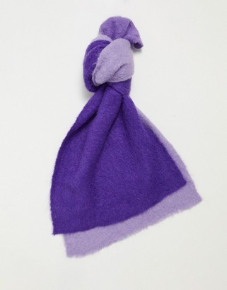 ASOS DESIGN wool mix ombre scarf in purple and lilac