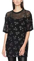 Jaded London Women's Glitter Star Mesh Tee Dress