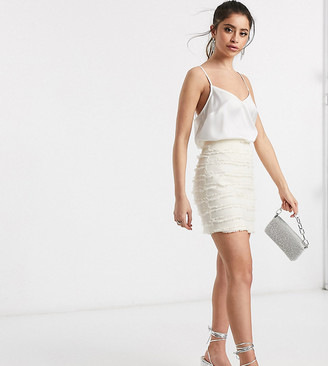Outrageous Fortune Petite textured mini skirt in cream