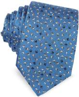 Lanvin Geometric Square Patterned Woven Silk Tie