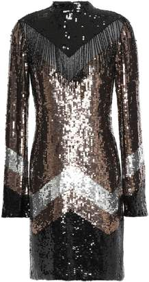 Just Cavalli Fringe-trimmed Embellished Color-block Georgette Mini Dress
